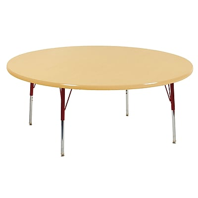 """60"""" Round T-Mold Activity Table, Maple/Maple/Red/Toddler Swivel"""