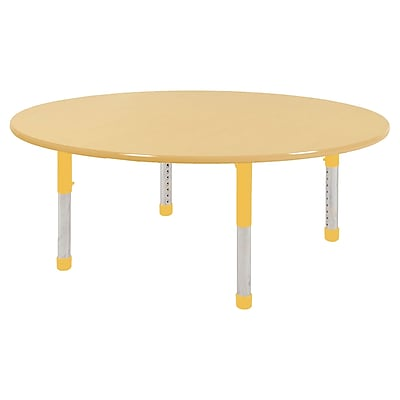"60"" Round T-Mold Activity Table, Maple/Maple/Yellow/Chunky"