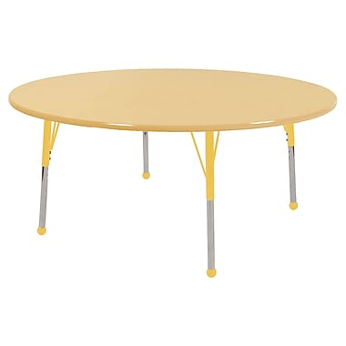 "60"" Round T-Mold Activity Table, Maple/Maple/Yellow/Toddler Ball"