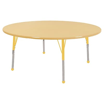 "60"" Round T-Mold Activity Table, Maple/Maple/Yellow/Standard Ball"