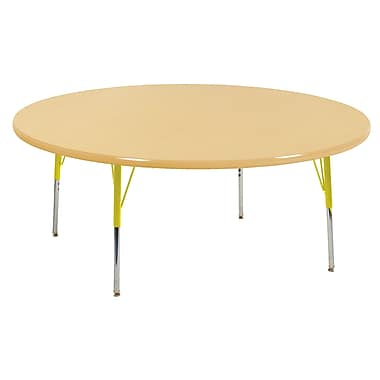 """60"""" Round T-Mold Activity Table, Maple/Maple/Yellow/Toddler Swivel"""