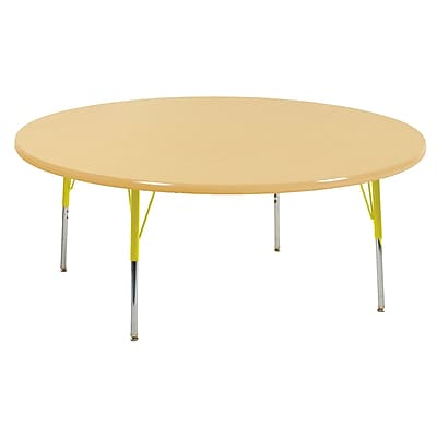"60"" Round T-Mold Activity Table, Maple/Maple/Yellow/Standard Swivel"