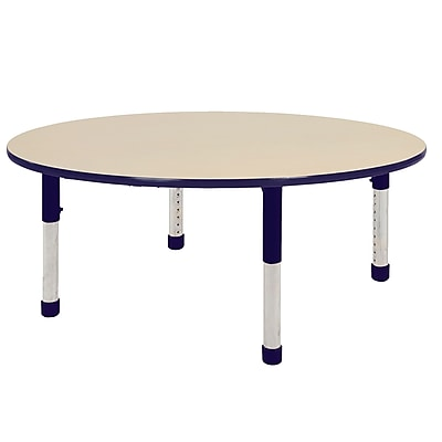 "60"" Round T-Mold Activity Table, Maple/Navy/Chunky"
