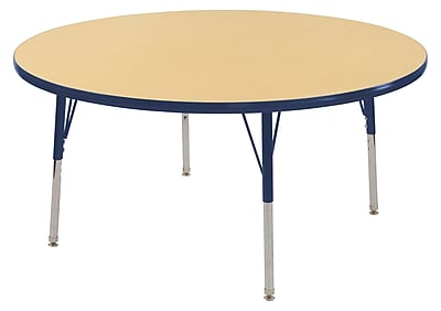 "60"" Round T-Mold Activity Table, Maple/Navy/Standard Swivel"