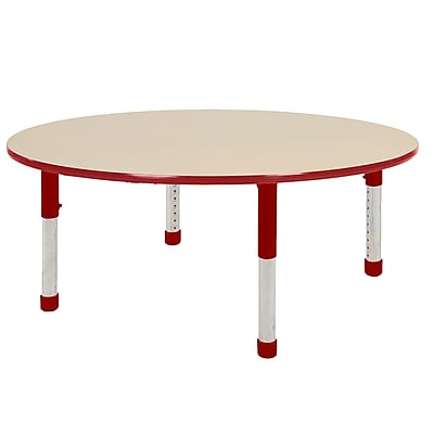 "60"" Round T-Mold Activity Table, Maple/Red/Chunky"