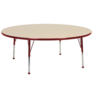 "60"" Round T-Mold Activity Table, Maple/Red/Toddler Ball"
