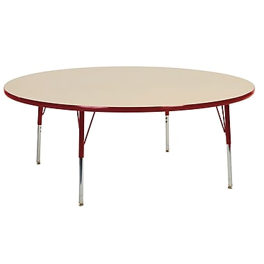 "60"" Round T-Mold Activity Table, Maple/Red/Toddler Swivel"