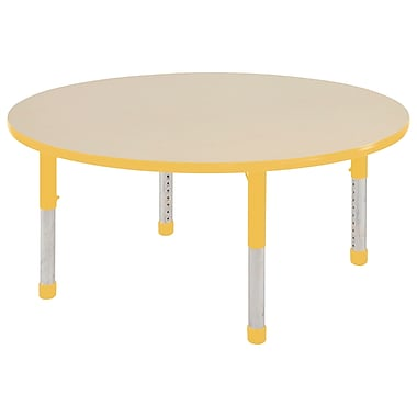 """60"""" Round T-Mold Activity Table, Maple/Yellow/Chunky"""