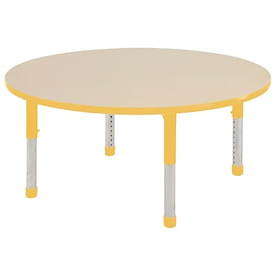 "60"" Round T-Mold Activity Table, Maple/Yellow/Chunky"