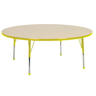"""60"""" Round T-Mold Activity Table, Maple/Yellow/Toddler Ball"""