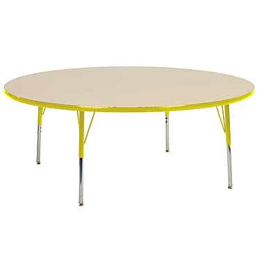 """60"""" Round T-Mold Activity Table, Maple/Yellow/Toddler Swivel"""