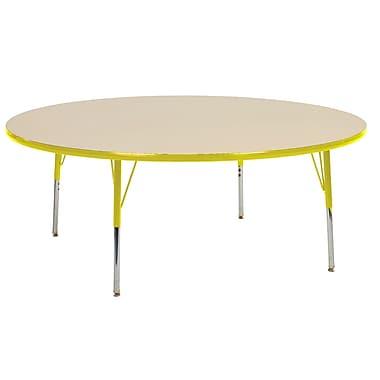 "60"" Round T-Mold Activity Table, Maple/Yellow/Standard Swivel"