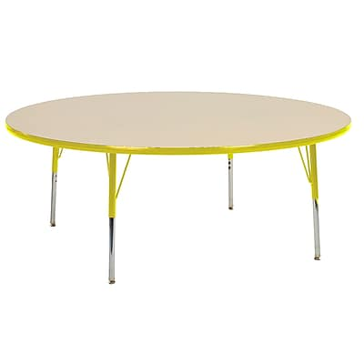 "60"" Round T-Mold Activity Table, Maple/Yellow/Standard Swivel"