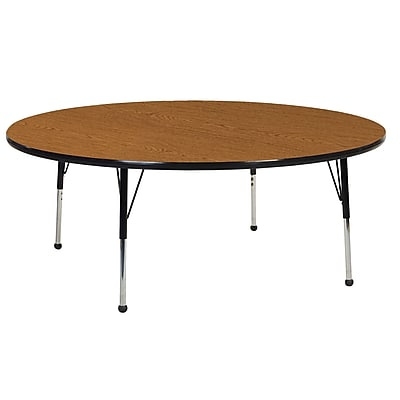 """60"""" Round T-Mold Activity Table, Oak/Black/Toddler Ball"""