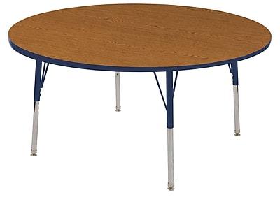 "60"" Round T-Mold Activity Table, Oak/Navy/Standard Swivel"
