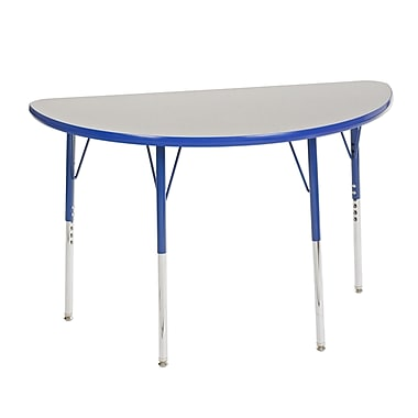 "24""x48"" Half Round T-Mold Activity Table, Grey/Blue/Standard Swivel"