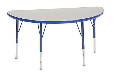 """24""""x48"""" Half Round T-Mold Activity Table, Grey/Blue/Toddler Swivel"""