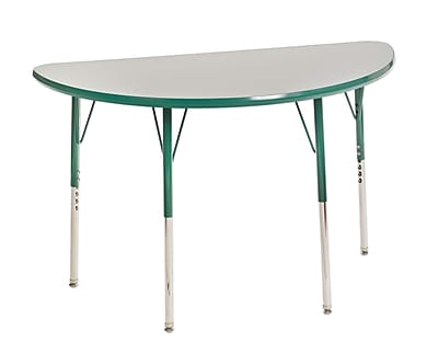 "24""x48"" Half Round T-Mold Activity Table, Grey/Green/Standard Swivel"