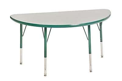 """24""""x48"""" Half Round T-Mold Activity Table, Grey/Green/Toddler Swivel"""