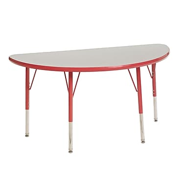 "24""x48"" Half Round T-Mold Activity Table, Grey/Red/Toddler Swivel"