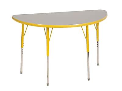 "24""x48"" Half Round T-Mold Activity Table, Grey/Yellow/Standard Swivel"