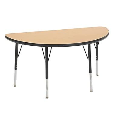 "24""x48"" Half Round T-Mold Activity Table, Maple/Black/Toddler Swivel"