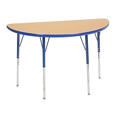 "24""x48"" Half Round T-Mold Activity Table, Maple/Blue/Standard Swivel"