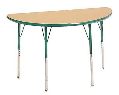 "24""x48"" Half Round T-Mold Activity Table, Maple/Green/Toddler Swivel"