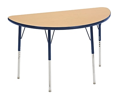 "24""x48"" Half Round T-Mold Activity Table, Maple/Navy/Toddler Swivel"