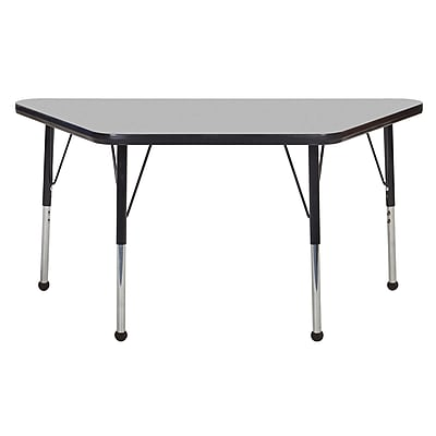 "24""x48"" Trapezoid T-Mold Activity Table, Grey/Black/Toddler Ball"