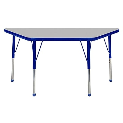 """24""""x48"""" Trapezoid T-Mold Activity Table, Grey/Blue/Standard Ball"""