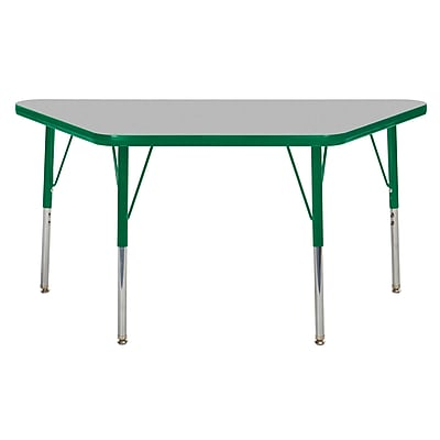 """24""""x48"""" Trapezoid T-Mold Activity Table, Grey/Green/Toddler Swivel"""