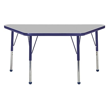 """24""""x48"""" Trapezoid T-Mold Activity Table, Grey/Navy/Toddler Ball"""