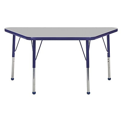 "24""x48"" Trapezoid T-Mold Activity Table, Grey/Navy/Toddler Ball"