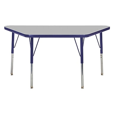 "24""x48"" Trapezoid T-Mold Activity Table, Grey/Navy/Standard Swivel"