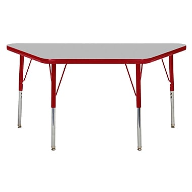 """24""""x48"""" Trapezoid T-Mold Activity Table, Grey/Red/Standard Swivel"""