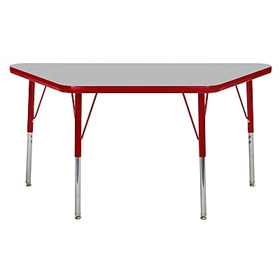 "24""x48"" Trapezoid T-Mold Activity Table, Grey/Red/Standard Swivel"