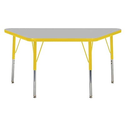 "24""x48"" Trapezoid T-Mold Activity Table, Grey/Yellow/Standard Swivel"