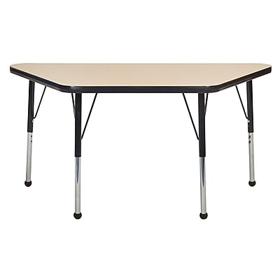 "24""x48"" Trapezoid T-Mold Activity Table, Maple/Black/Standard Ball"