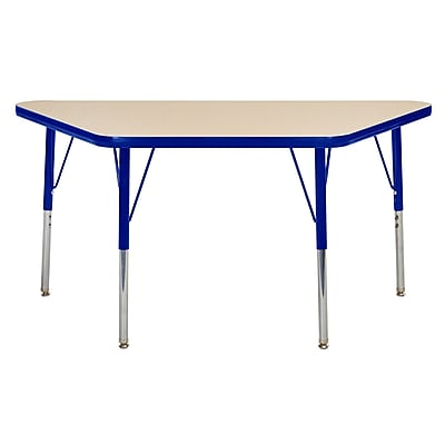 "24""x48"" Trapezoid T-Mold Activity Table, Maple/Blue/Standard Swivel"