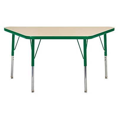 """24""""x48"""" Trapezoid T-Mold Activity Table, Maple/Green/Toddler Swivel"""