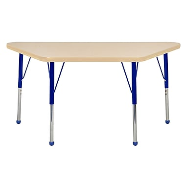 """24""""x48"""" Trapezoid T-Mold Activity Table, Maple/Maple/Blue/Toddler Ball"""