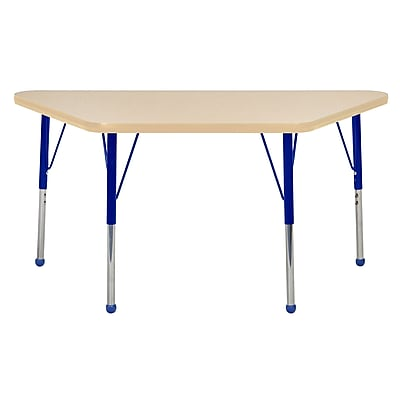 "24""x48"" Trapezoid T-Mold Activity Table, Maple/Maple/Blue/Standard Ball"