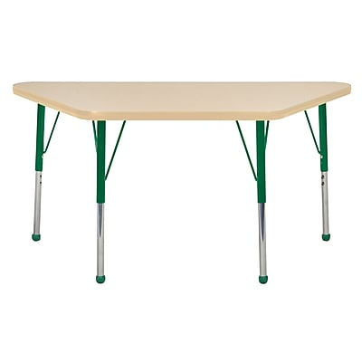 "24""x48"" Trapezoid T-Mold Activity Table, Maple/Maple/Green/Toddler Ball"
