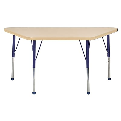 """24""""x48"""" Trapezoid T-Mold Activity Table, Maple/Maple/Navy/Toddler Ball"""