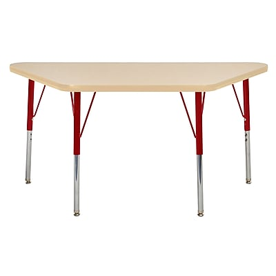 """24""""x48"""" Trapezoid T-Mold Activity Table, Maple/Maple/Red/Standard Swivel"""