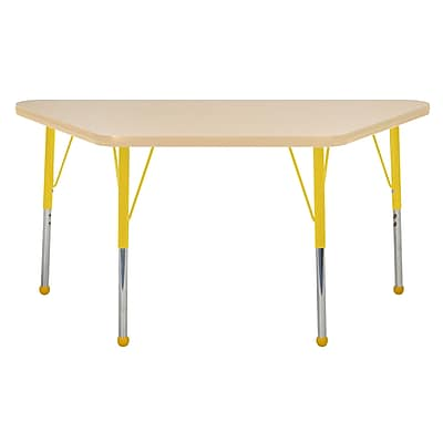 "24""x48"" Trapezoid T-Mold Activity Table, Maple/Maple/Yellow/Toddler Ball"