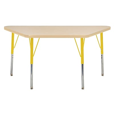 "24""x48"" Trapezoid T-Mold Activity Table, Maple/Maple/Yellow/Standard Swivel"