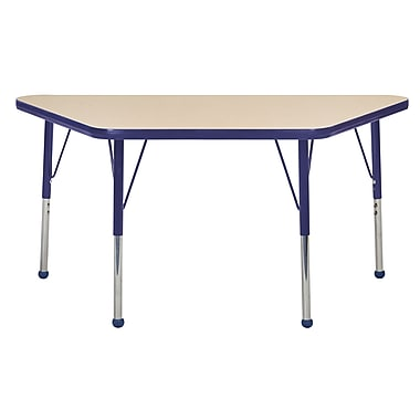 "24""x48"" Trapezoid T-Mold Activity Table, Maple/Navy/Toddler Ball"