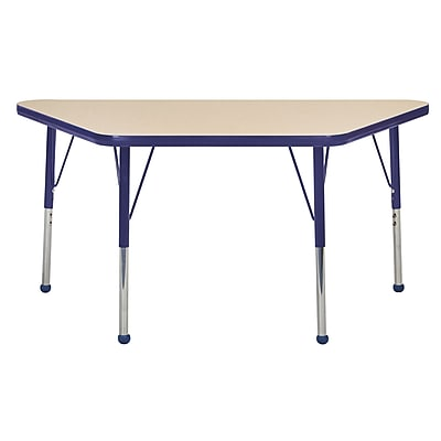 "24""x48"" Trapezoid T-Mold Activity Table, Maple/Navy/Standard Ball"
